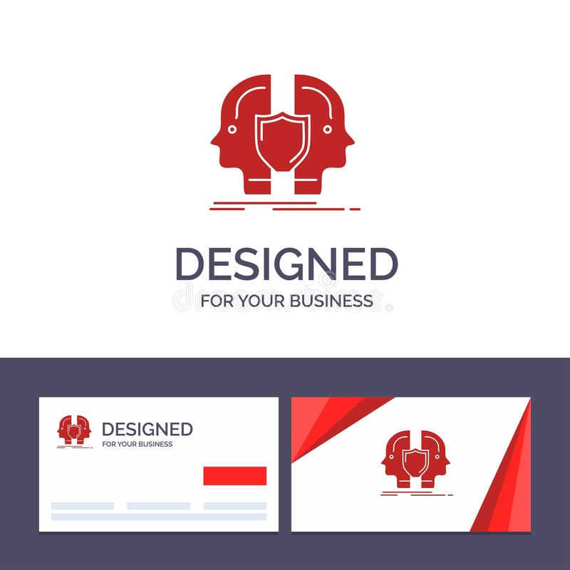 Man för idérik mall för affärskort och logo, framsida som är dubbel, identitet, sköldvektorillustration vektor illustrationer