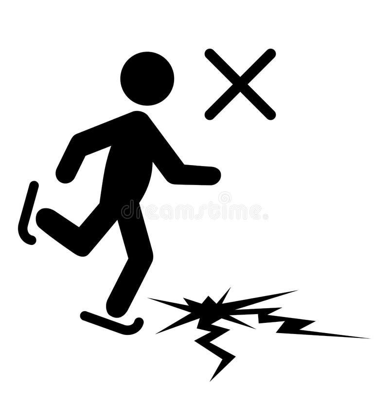 Man för information om vintervarningsfara med skridskor på tunn is Fl royaltyfri illustrationer