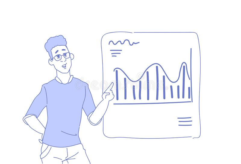 Man för konferens för presentation för man för affär för begrepp för konsulent för handel för graf för diagram för affärsmanvisni vektor illustrationer
