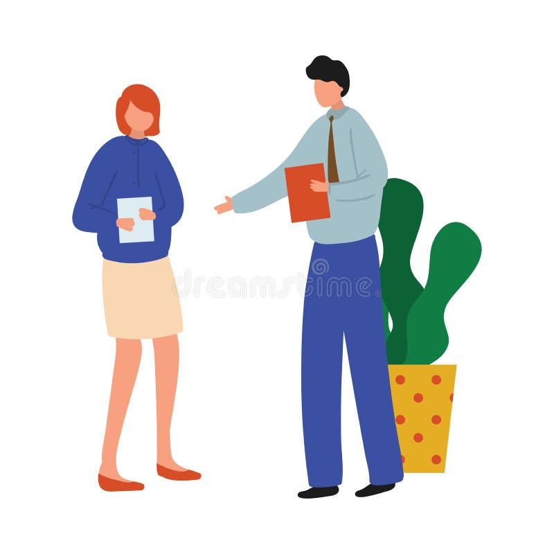 Man för kontorschef i blå skjorta att ge sig till nya dokument för sekreterare stock illustrationer