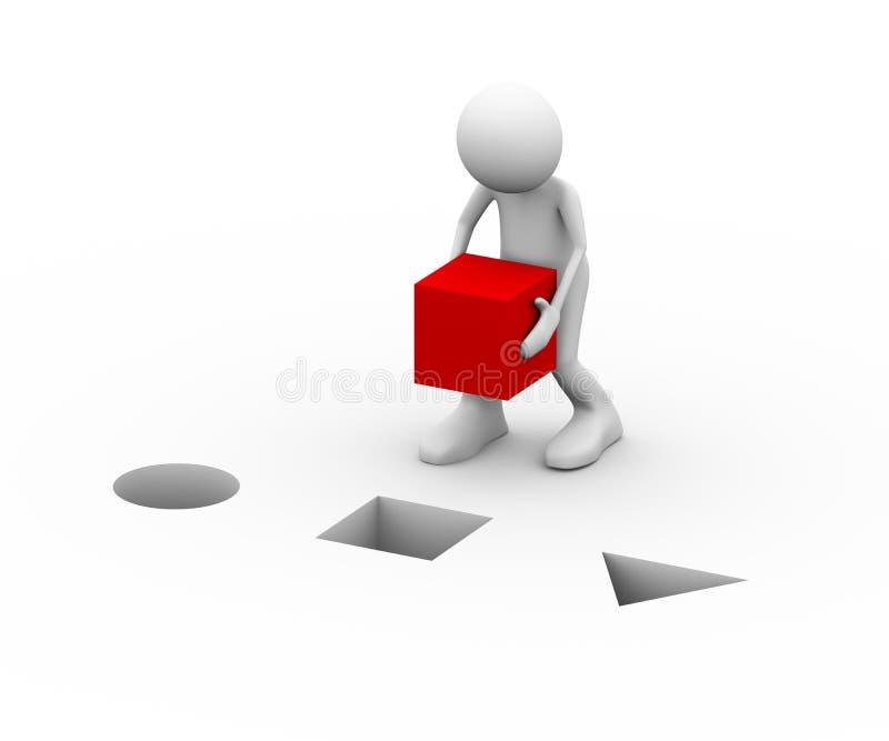 man för kub som 3d placerar red royaltyfri illustrationer