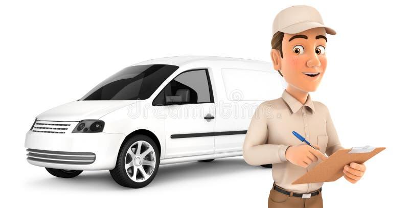 man för leverans 3d med notepaden som är främst av bilen vektor illustrationer
