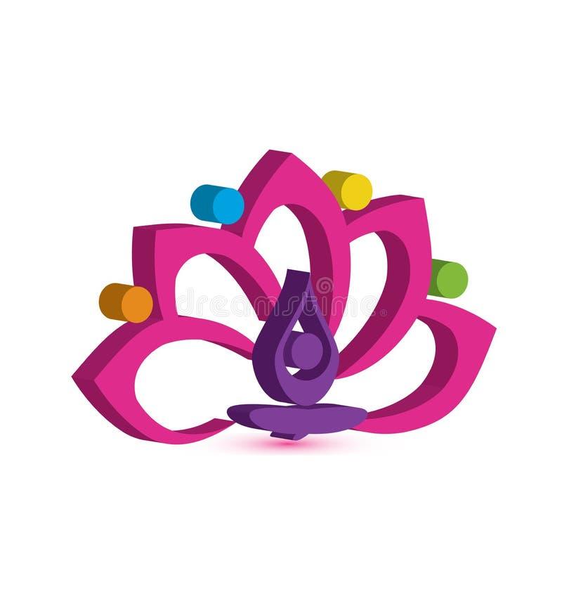 Man för logoyogablomma med rosa design för vektor för bild för lotusblommateamworksymbol vektor illustrationer