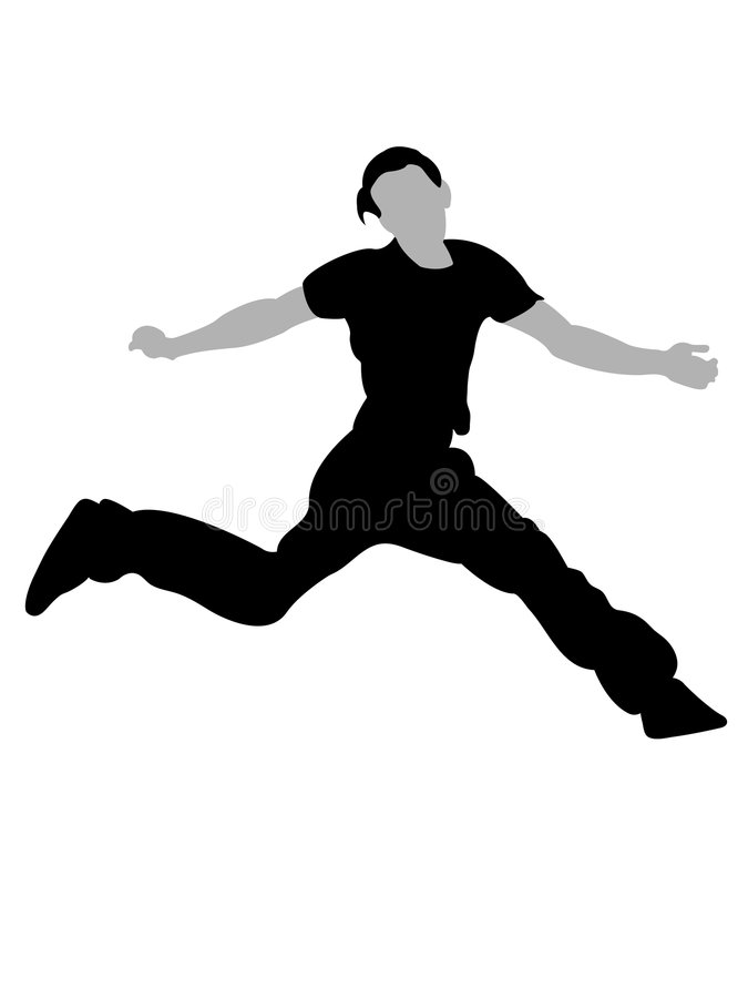 man för lufthandsombanhoppning vektor illustrationer