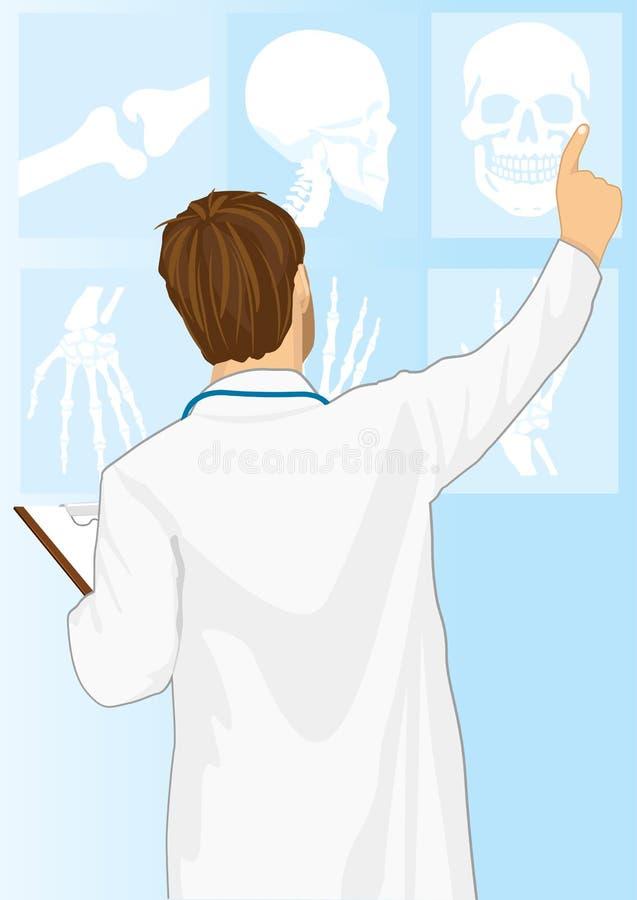 Man för medicinsk doktor som pekar på tomography vektor illustrationer