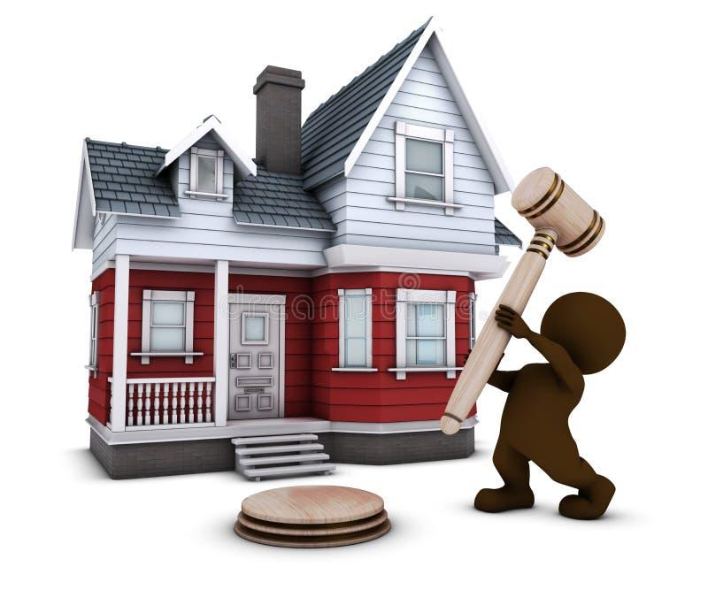 man för morf 3D med huset och auktionsklubban vektor illustrationer