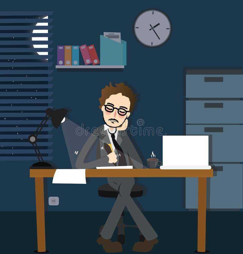 Man för nattstopptiden för arbete sent - skrivbordet för sammanträde i regeringsställning det ensamma mörka övertids- med lampan stock illustrationer