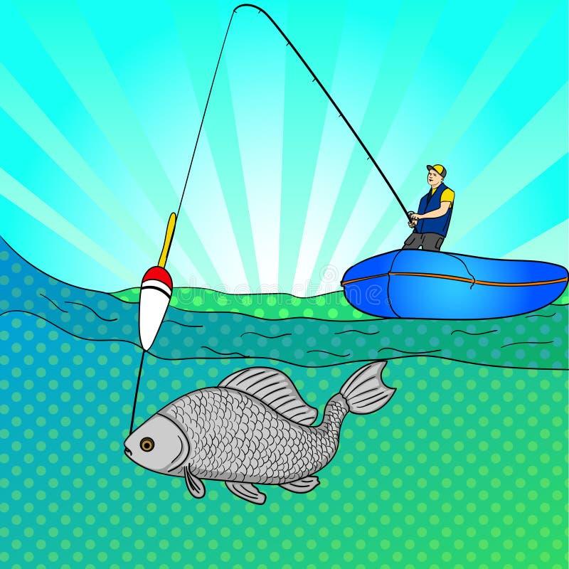 Man för popkonst som fiske i det öppna havet Fisketecknad film Fiskare i fartyget som drar fisken Stil för vektorbildhumorbok stock illustrationer