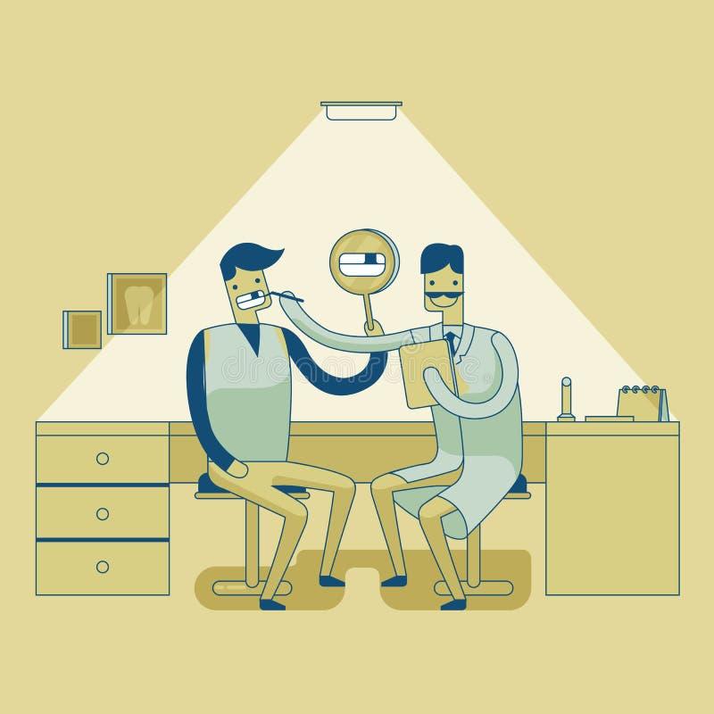 Man för s för tandläkareundersökningtänder ' stock illustrationer