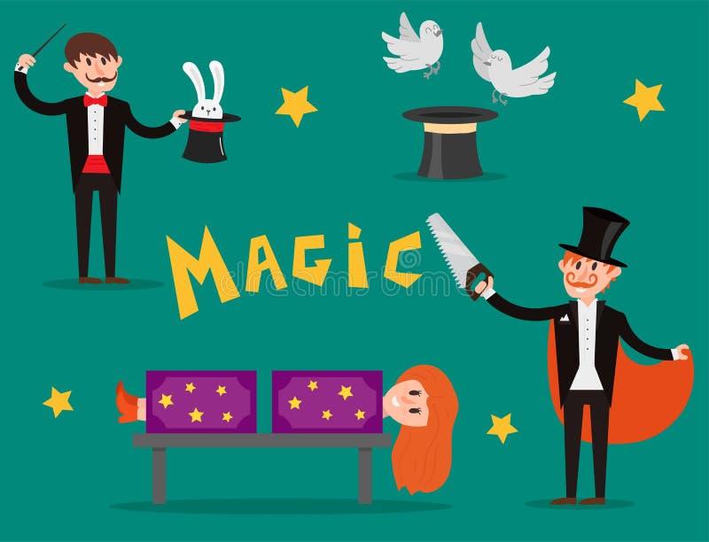 Man för tecknad film för show för trollkarl för illustration för vektor för jonglör för trick för tecken för trollkarltaskspelare stock illustrationer