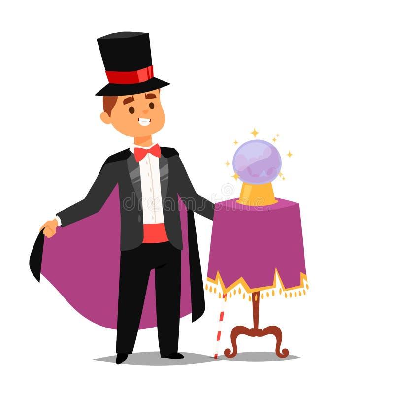 Man för tecknad film för show för trollkarl för illustration för vektor för jonglör för trick för tecken för vektor för trollkarl vektor illustrationer