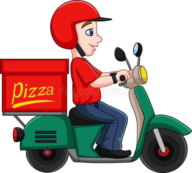 Man för tecknad filmpizzaleverans som rider en sparkcykel vektor illustrationer