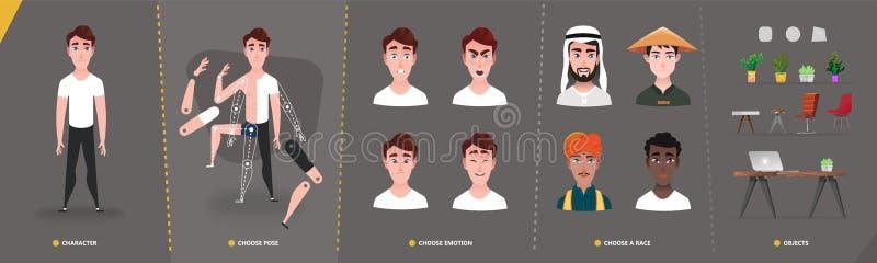 Man för tecknad filmtecken för animering- och rörelsedesign stock illustrationer