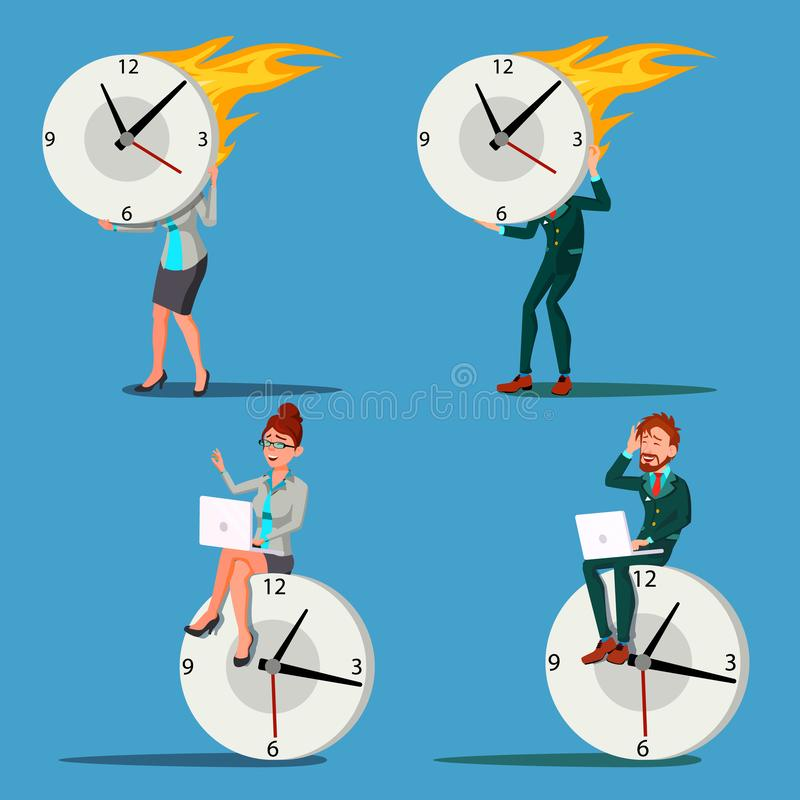 Man för Tid ledning, kvinnavektor förhalning kontroll Enorm klocka, klocka blå text för avstånd för rörelse för mellanlägg för il royaltyfri illustrationer