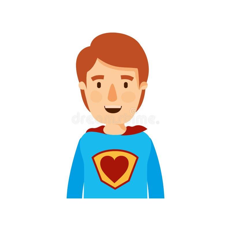 Man för toppen hjälte för kropp för färgrik karikatyr halv ung royaltyfri illustrationer