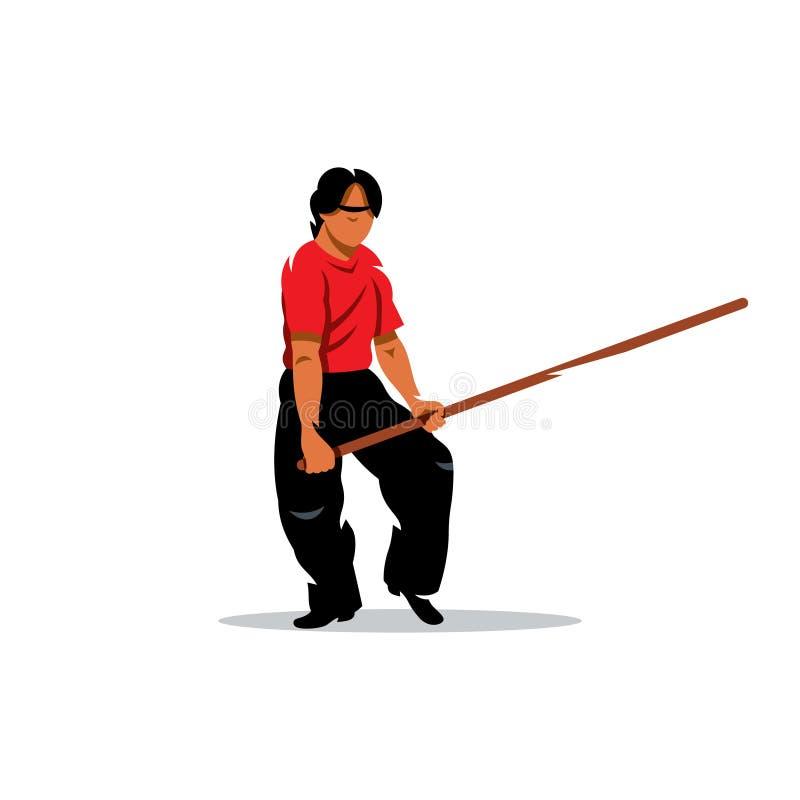 Man för vektorWing Chun kung fu med en pinne tecknad filmcommandertryckspruta hans illustrationsoldatstopwatch vektor illustrationer