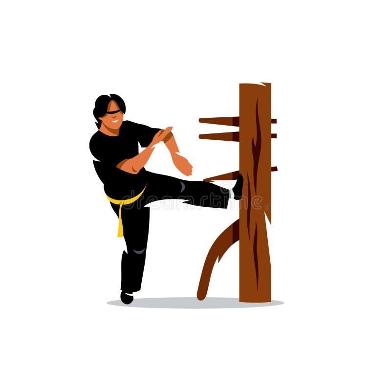 Man för vektorWing Chun kung fu på en träattrapp tecknad filmcommandertryckspruta hans illustrationsoldatstopwatch stock illustrationer