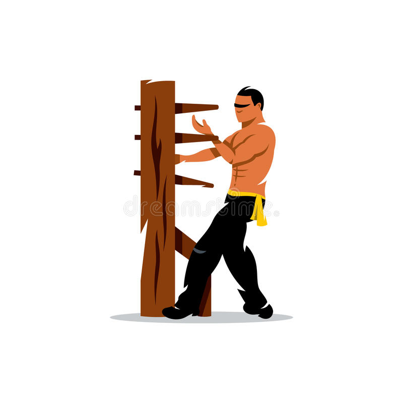 Man för vektorWing Chun kung fu på en träattrapp tecknad filmcommandertryckspruta hans illustrationsoldatstopwatch royaltyfri illustrationer