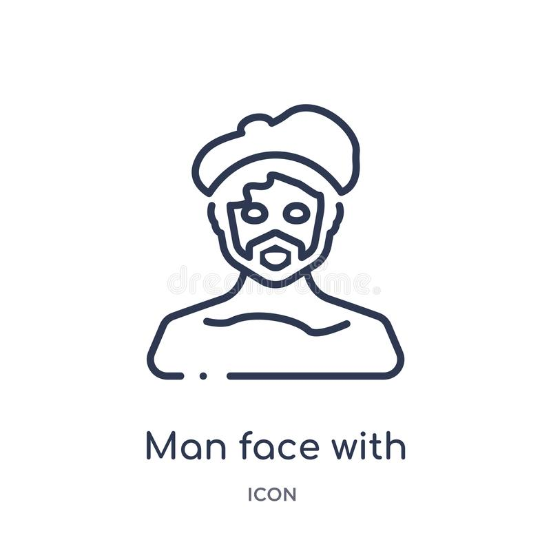 Man face with beret and goatee icon from people outline collection. Thin line man face with beret and goatee icon isolated on. White background royalty free illustration