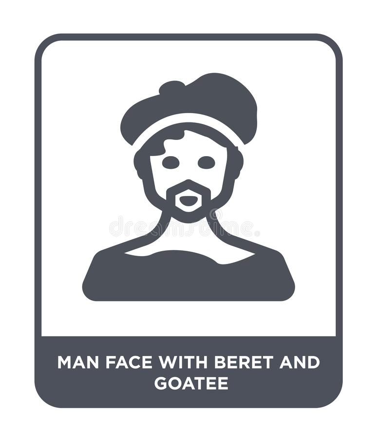 Man face with beret and goatee icon in trendy design style. man face with beret and goatee icon isolated on white background. man. Face with beret and goatee stock illustration