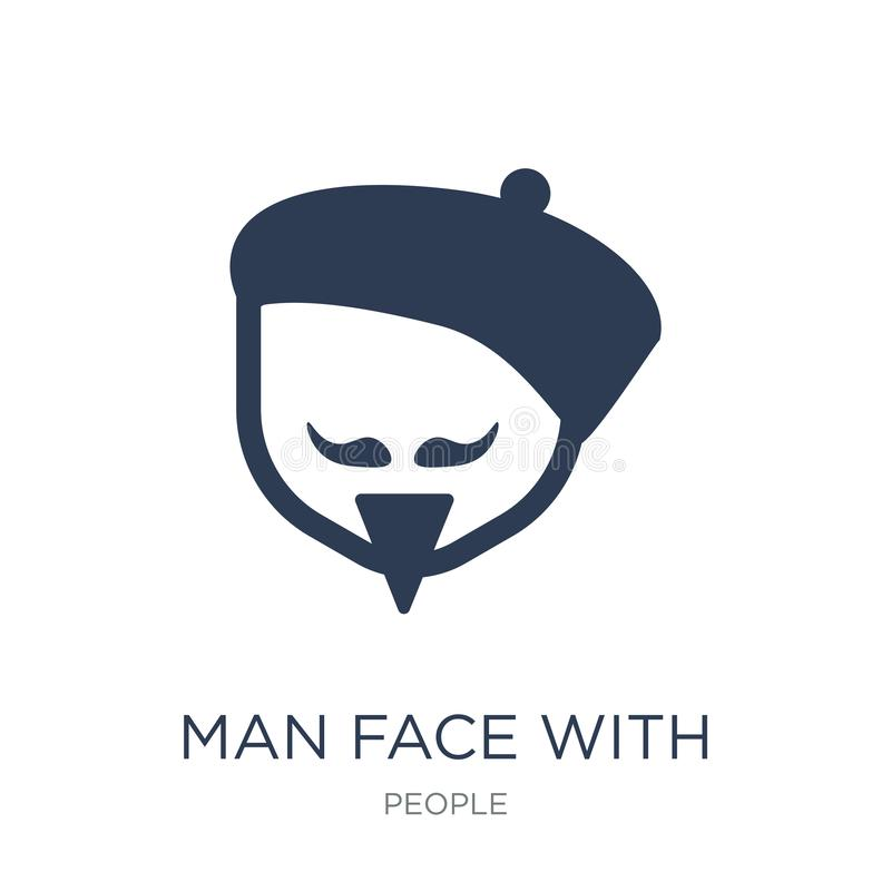 Man face with beret and goatee icon. Trendy flat vector Man face. With beret and goatee icon on white background from People collection, vector illustration can vector illustration