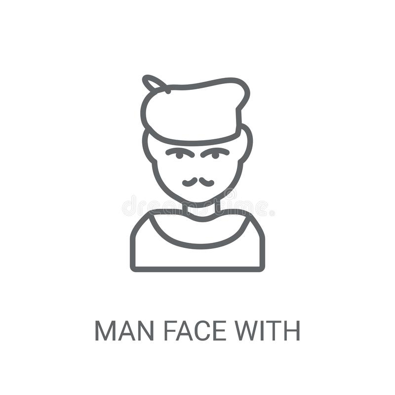 Man face with beret and goatee icon. Trendy Man face with beret. And goatee logo concept on white background from People collection. Suitable for use on web stock illustration