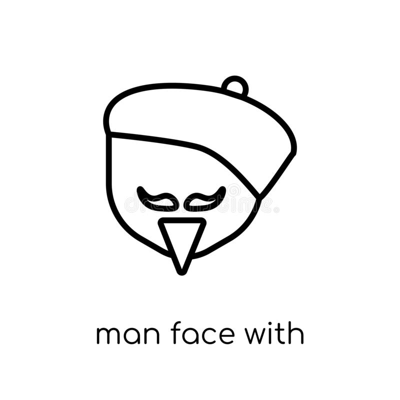 Man face with beret and goatee icon. Trendy modern flat linear v. Ector man face with beret and goatee icon on white background from thin line People collection royalty free illustration