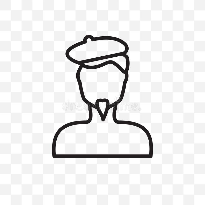 Man face with beret and goatee vector linear icon isolated on transparent background, Man face with beret and goatee transparency. Concept can be used for web royalty free illustration