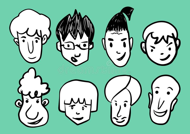 Man face cartoon icon vector illustration, Men Smiling, young men avatar line icon, hand drawn in Black and white people funny. Faces, Sketch Portrait outline vector illustration