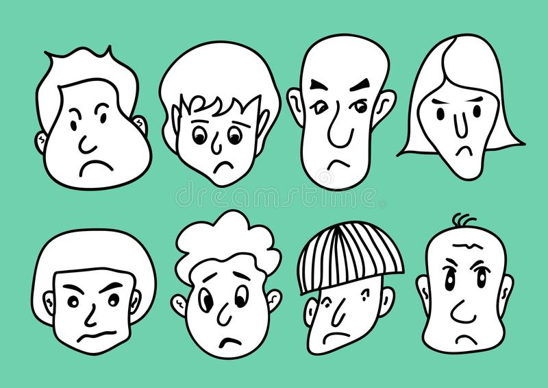 Man face cartoon icon vector illustration, Men Smiling, young men avatar line icon, hand drawn in Black and white people Sad faces. Sketch Portrait outline vector illustration
