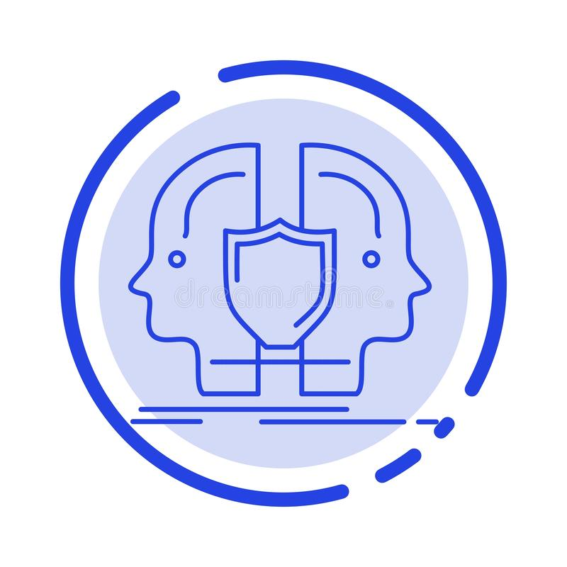 Man, Face, Dual, Identity, Shield Blue Dotted Line Line Icon stock illustration
