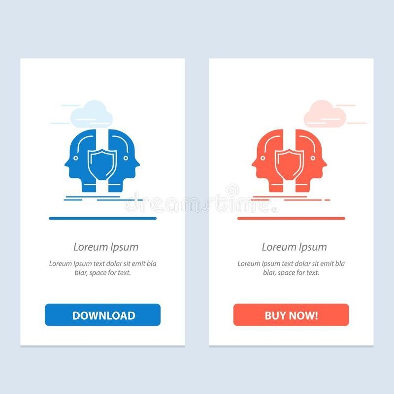 Man, Face, Dual, Identity, Shield  Blue and Red Download and Buy Now web Widget Card Template stock illustration