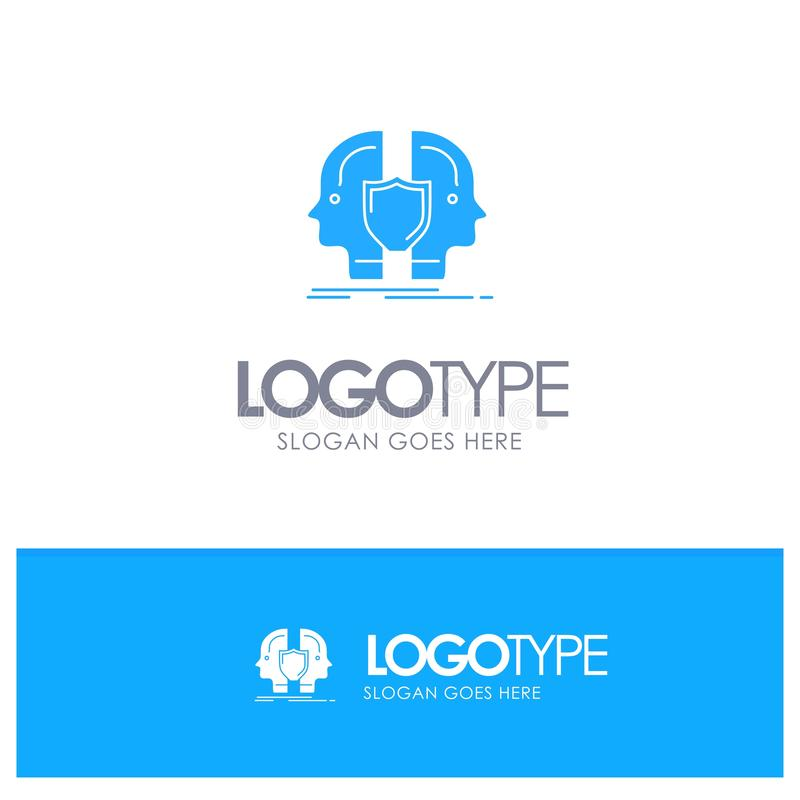 Man, Face, Dual, Identity, Shield Blue Solid Logo with place for tagline vector illustration