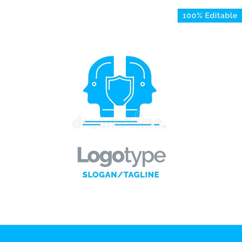 Man, Face, Dual, Identity, Shield Blue Solid Logo Template. Place for Tagline royalty free illustration