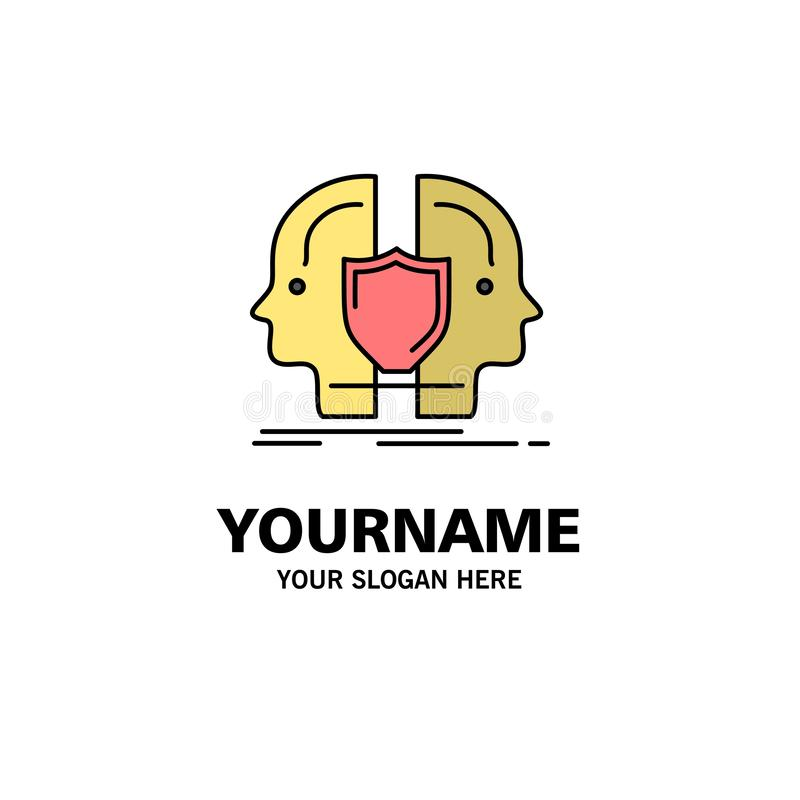 Man, Face, Dual, Identity, Shield Business Logo Template. Flat Color vector illustration