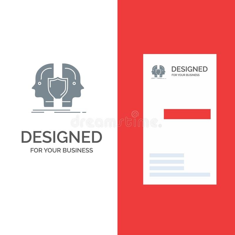 Man, Face, Dual, Identity, Shield Grey Logo Design and Business Card Template royalty free illustration