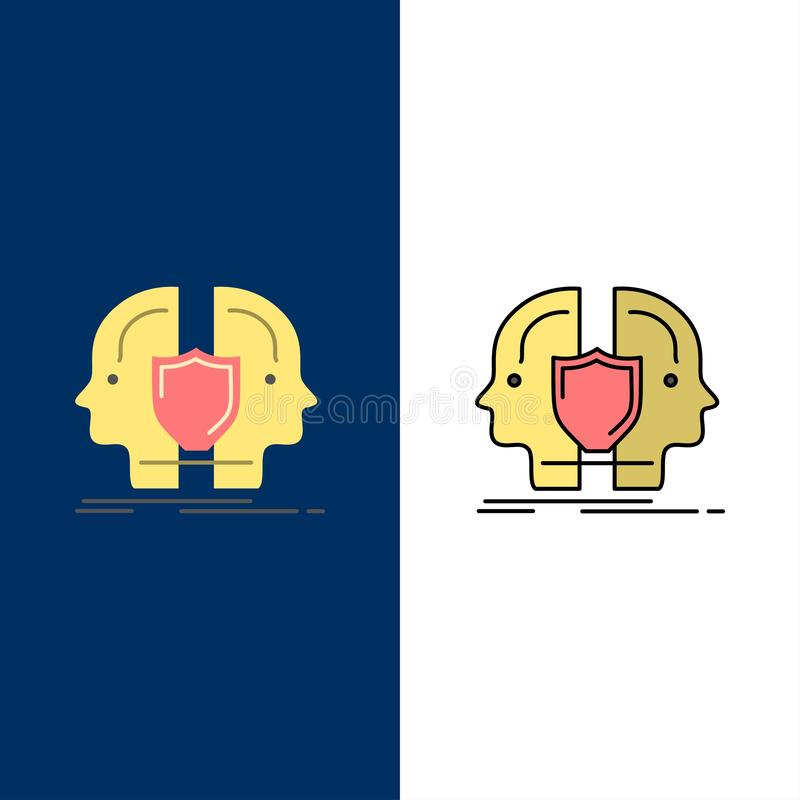 Man, Face, Dual, Identity, Shield  Icons. Flat and Line Filled Icon Set Vector Blue Background stock illustration