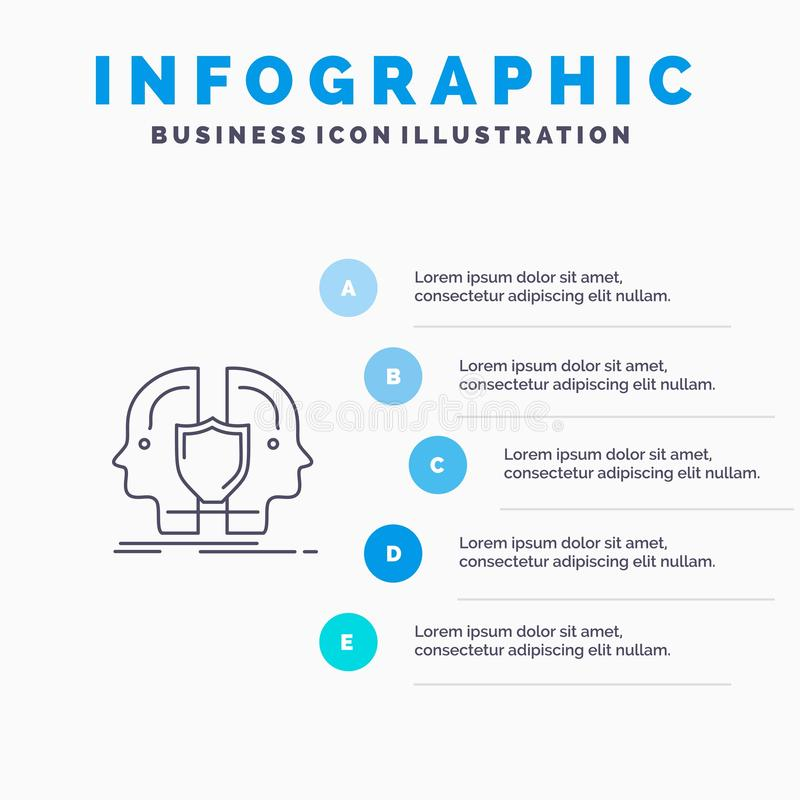 Man, Face, Dual, Identity, Shield Line icon with 5 steps presentation infographics Background royalty free illustration