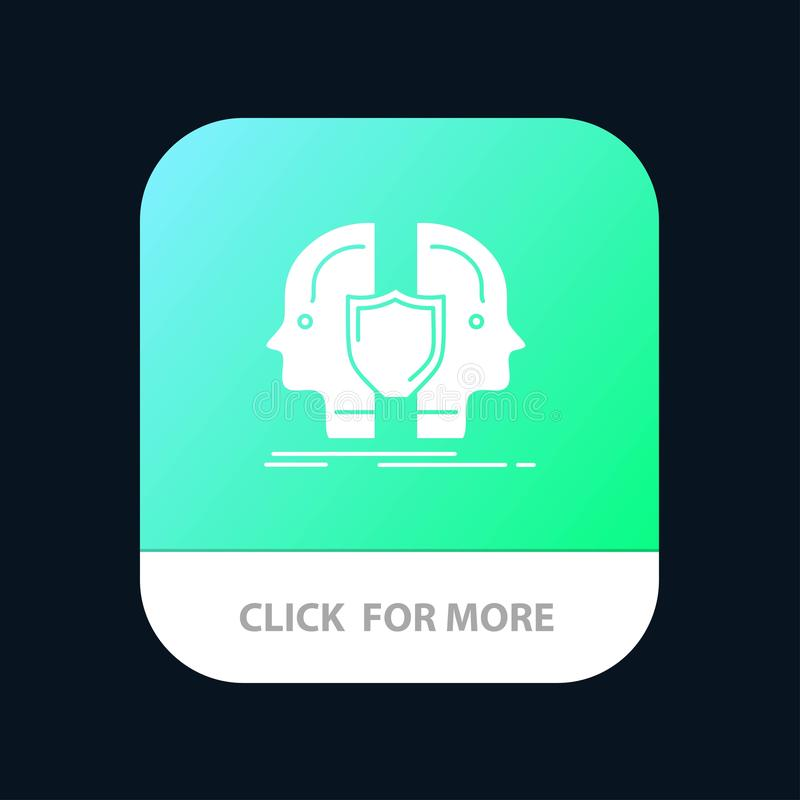Man, Face, Dual, Identity, Shield Mobile App Button. Android and IOS Glyph Version vector illustration