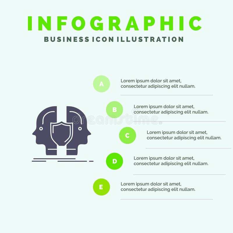 Man, Face, Dual, Identity, Shield Solid Icon Infographics 5 Steps Presentation Background stock illustration