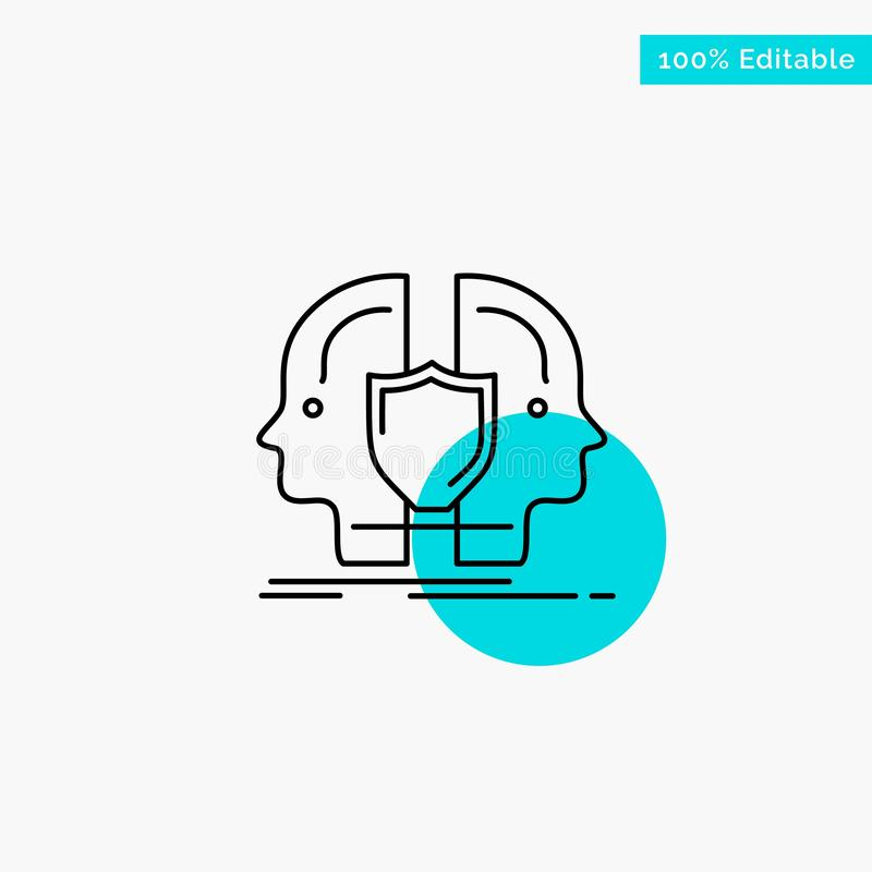 Man, Face, Dual, Identity, Shield turquoise highlight circle point Vector icon vector illustration