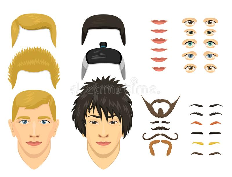 Man face emotions constructor parts eyes, nose, lips, beard, mustache avatar creator vector cartoon character creation royalty free illustration