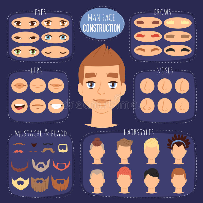 Man face emotions constructor parts eyes, nose, lips, beard, mustache avatar creator vector cartoon character creation vector illustration