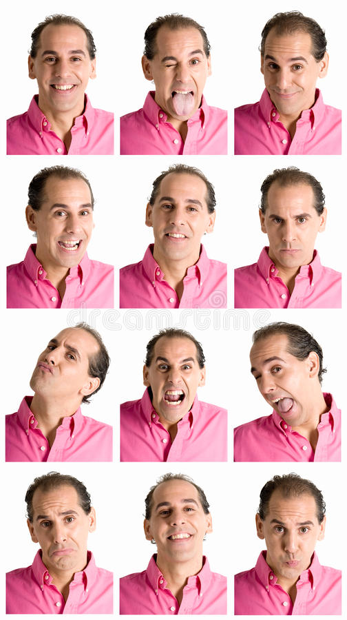 Man face expressions composite isolated on white stock photo