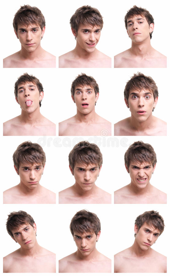Download Man Face Expressions Composite Isolated On White Stock Photo - Image of characters, actor: 14632952