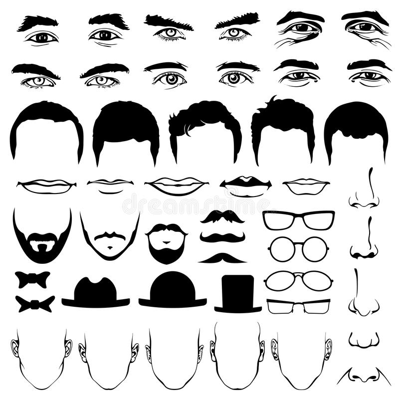 Man face eyes and noses, mustaches with glasses, hats or lips, hairstyle stock illustration