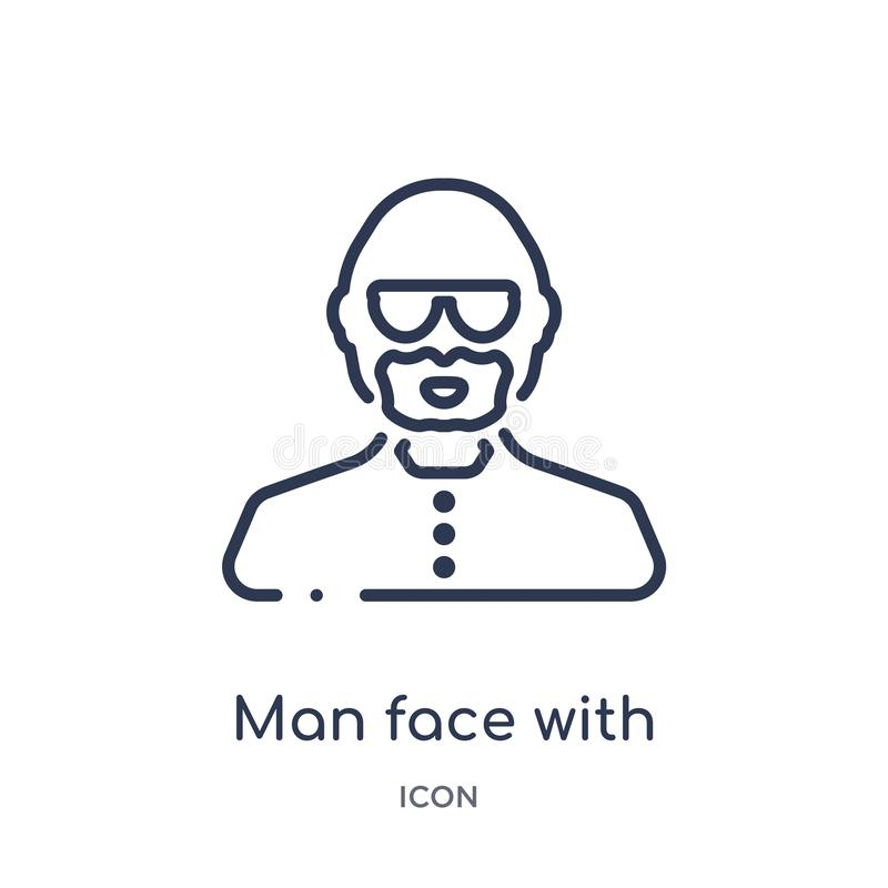 man face with glasses and goatee icon from people outline collection. Thin line man face with glasses and goatee icon isolated on vector illustration