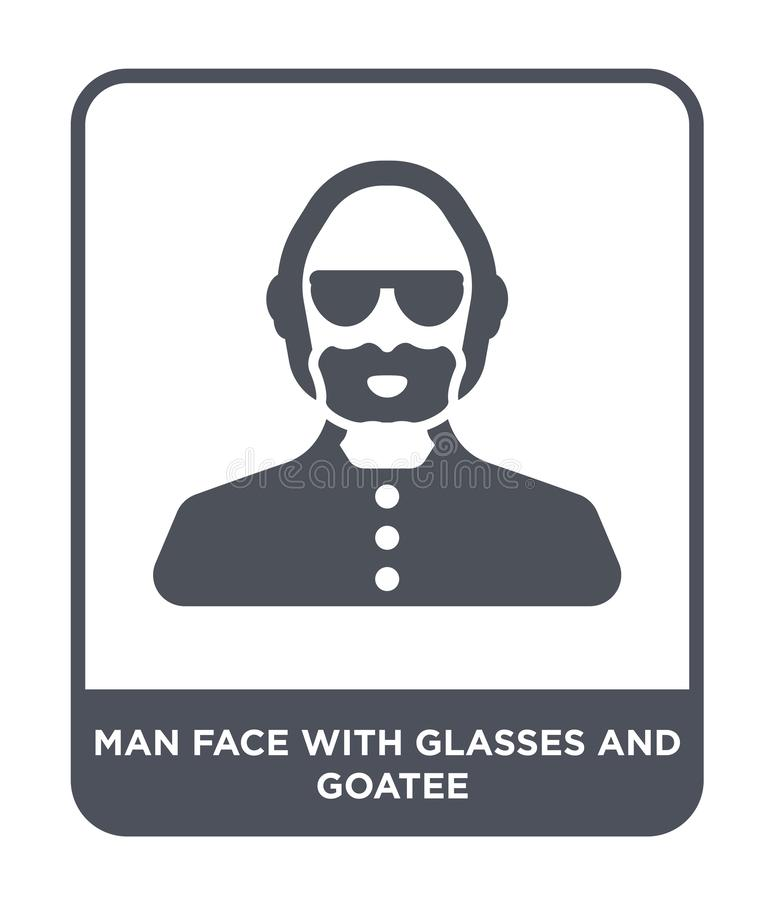 Man face with glasses and goatee icon in trendy design style. man face with glasses and goatee icon isolated on white background. Man face with glasses and royalty free illustration