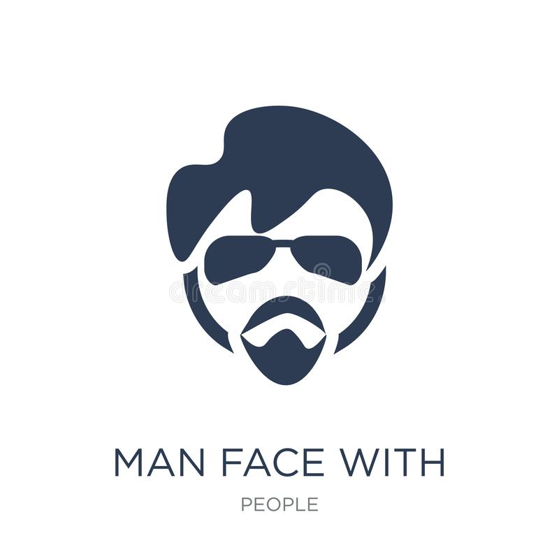 Man face with glasses and goatee icon. Trendy flat vector Man fa. Ce with glasses and goatee icon on white background from People collection, vector illustration royalty free illustration
