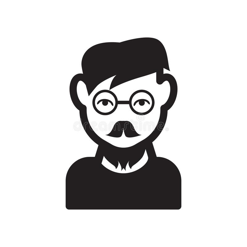 Man face with glasses and goatee icon. Trendy Man face with glasses and goatee logo concept on white background from People. Collection. Suitable for use on web stock illustration